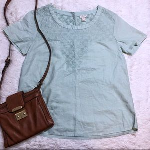 J. Crew Embroidered Mint Short Sleeve Blouse